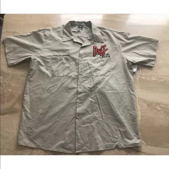 Universal Studios The Simpson Quality Control Duff Beer Work Shirt Large New